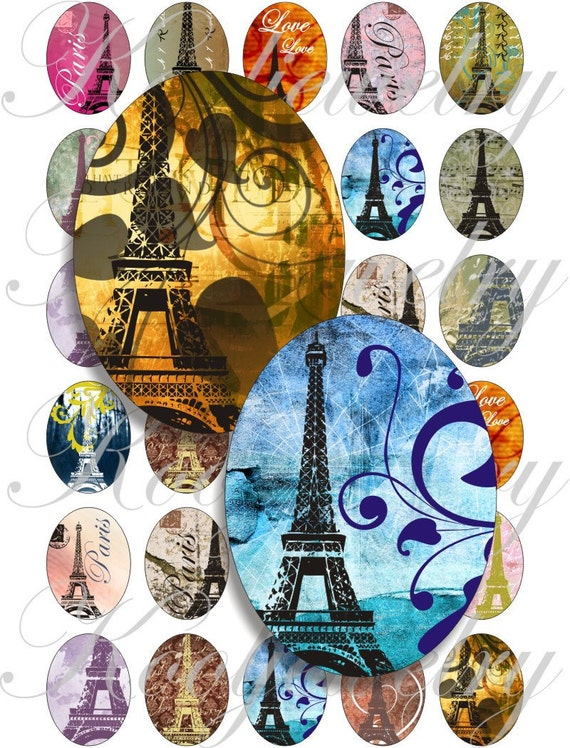 I love Paris 40x30mm oval images for charms, pendant, buttons, scrapbook and more Vintage Digital Collage Sheet No.763