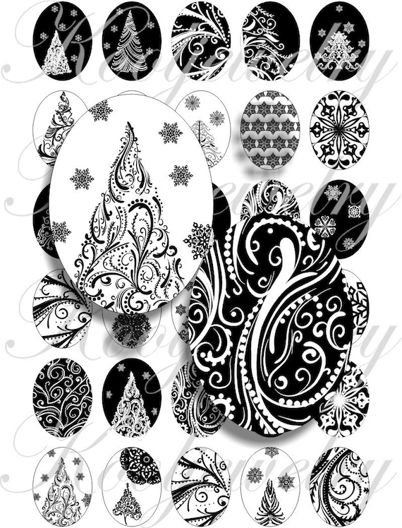 Back and white christmas tree  40x30mm oval images for charms, pendant, buttons, scrapbook and more Vintage Digital Collage Sheet No.791