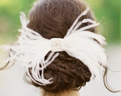 Sylvia Feather Bow with lace and pearl center