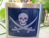 Jolly Roger Blue Skull and Crossbones Liquor Hip Flask