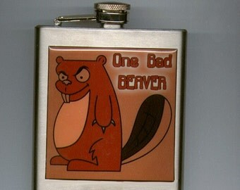 One Bad Beaver Liquor Hip Flask Stainless Steel 6 ounce