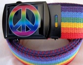 Peace Sign Symbol Rainbow Belt and Buckle Adjustable Size