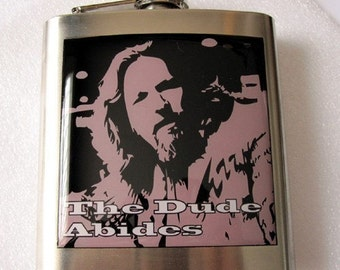 Lebowski The Dude Abides Liquor Hip Flask Stainless Steel 6 oz