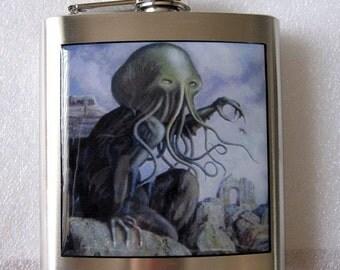 Cthulhu Lovecraft Sci Fi  Stainless Steel Liquor Hip FLASK