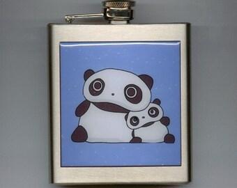 Tare Panda Bear Liquor Hip Flask Stainless Steel 6 Ounce