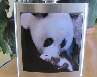 Panda Bear and Baby Liquor Hip Flask Stainless Steel 6 ounce
