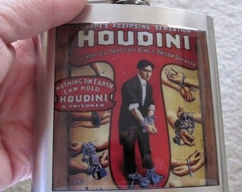 Houdini Magician Liquor Hip Flask Stainless Steel
