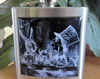 Alice In Wonderland Mad Hatter and March Hare Liquor Hip Flask