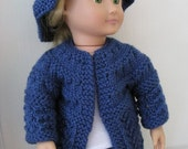 Knit Pattern for 18 inch American Girl Doll Lace & Garter Stitch Sweater and Hat instant download pattern now available