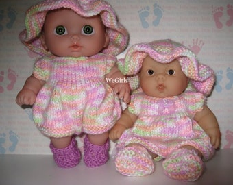 Download Doll Knit Pattern Summer Playsuit for Lil Cutesies & 8inch Chubby Lots to Love Berenguer Doll now instant download