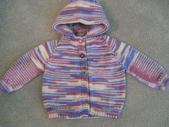 Hand Knit Baby Toddler Hoodie striped with pinks purple