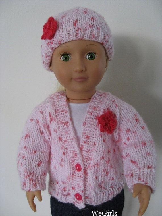 Knitting Pattern 18 inch American Girl Doll V-Neck Cardigan