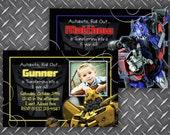 Transformers Bumble Bee/Optimus Prime Birthday Invitation Personalized DIY Printable