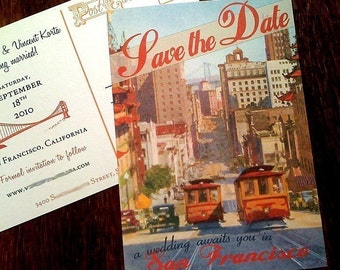 Vintage San Francisco Postcard Save the Date
