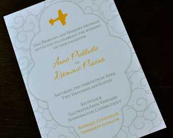 Airplane Wedding Invitation or Save the Date