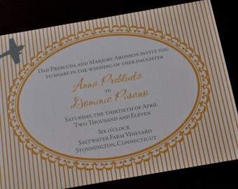 Vintage Stripe Airplane Wedding Invitation or Save the Date