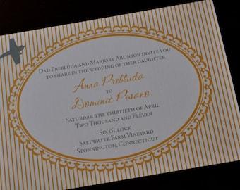 Vintage Stripe Airplane Wedding Invitation or Save the Date
