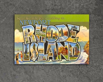 Vintage Newport Rhode Island Postcard Save the Date