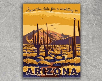 Vintage Phoenix Arizona Postcard Save the Date