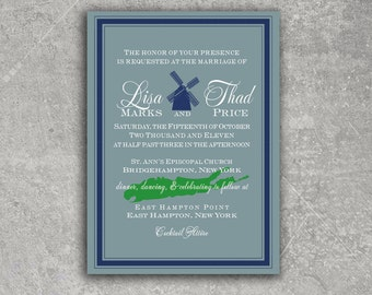 Hamptons Watermill Long Island Wedding Invitation or Save the Date