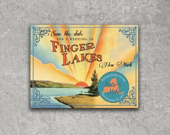 Vintage Finger Lakes New York Postcard Save the Date