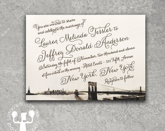 Vintage New York Brooklyn Bridge Invitation Save the Date