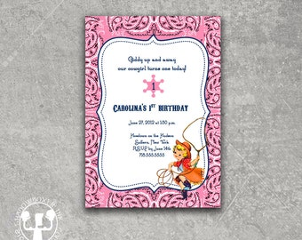 Cow Girl Birthday Invitation
