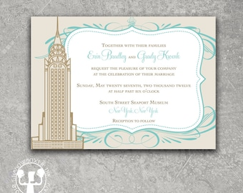 New York Empire State Building Aqua Gold Wedding Invitation Save the Date