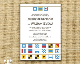 Maritime Alphabet or Nautical Flag Wedding Invitation or Save the Date