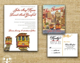 San Francisco Vintage Postcard Wedding Invitation
