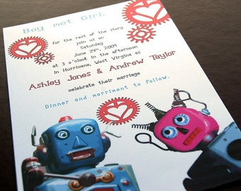 Whimsical Vintage Robot Wedding Invitation