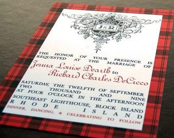 Scottish Family Tartan Wedding Invitation Custom