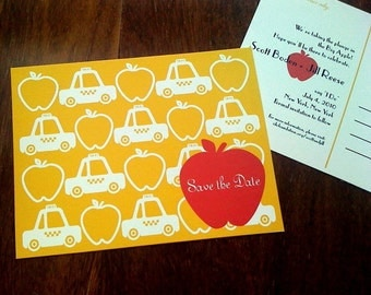 Taxi Cab & Apple New York NYC Save the Date Postcard