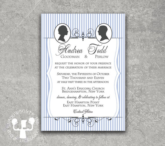 Seersucker Cameo Blue Stripe Wedding Invitation or Save the Date