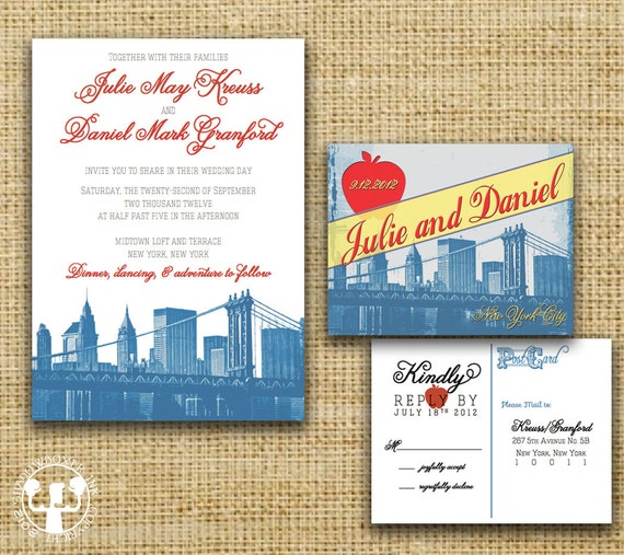 New York Vintage Postcard Wedding Invitation