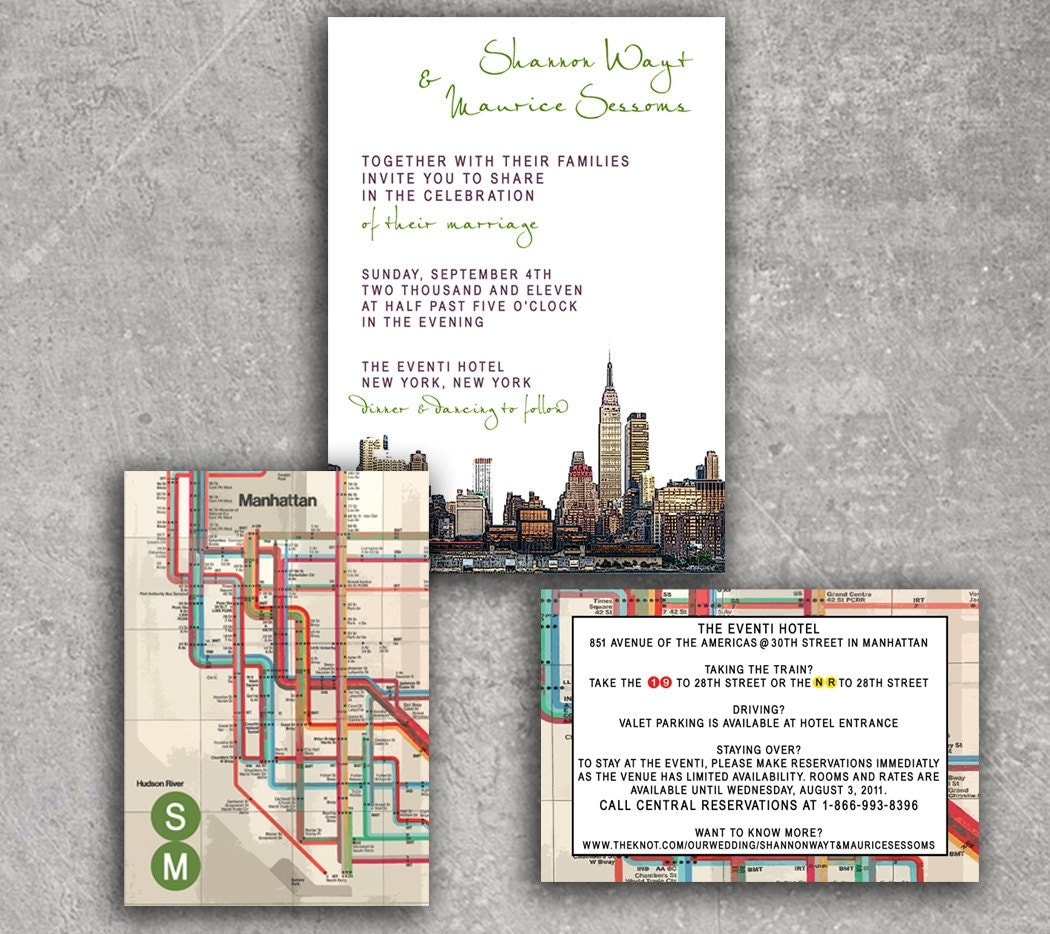 New York Empire State Subway Wedding Invitation or Save the