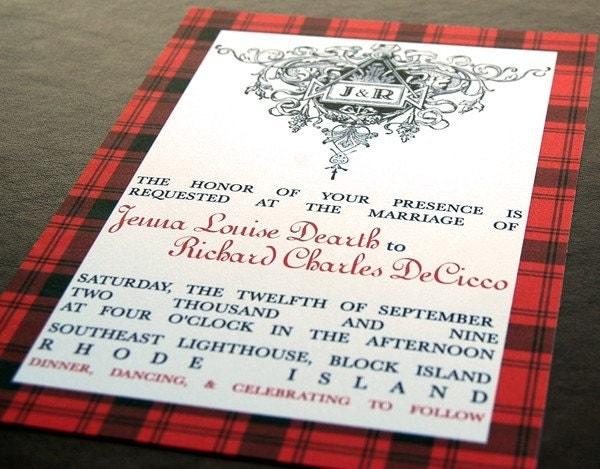 Scottish family tartan wedding invitation by powerhousepaper