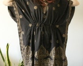 Vintage Black Poncho Dress with Gold Screen print Indian Designs