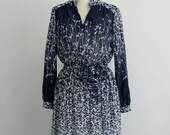 Navy and Blue Long Sleeve Floral Dress