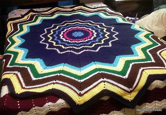 Crochet Baby Blanket Pattern 16 Point Star Round Ripple