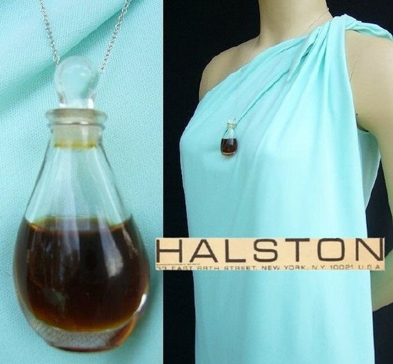 Vintage Halston Mini Bottle Perfume On Sterling Silver Chain