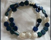 Sky Meets Sea 17 in. Necklace ~~  Freshwater Pearls and Azurite Malachite