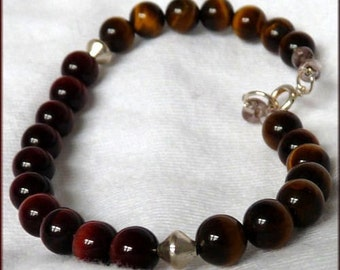 Cherry and Honey Tiger's Eye Sterling 7 3/4 in. Bracelet