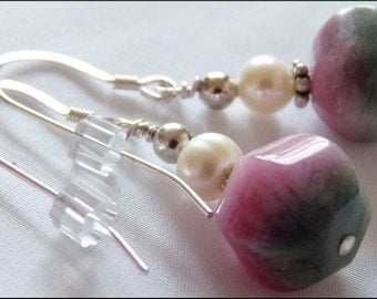 Watermelon Jade, Freshwater Pearls and Sterling Silver Earrings