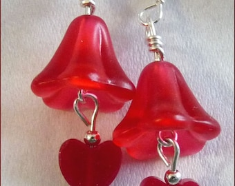 Holiday Flowers -- Red Lucite Flowers, Red Jade Hearts and Sterling Silver Earrings -- Free US Shipping and Free Gift Pouch