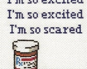 PATTERN - I'm So Scared Cross Stitch
