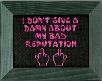 Joan Jett Bad Reputation Completed Cross Stitch