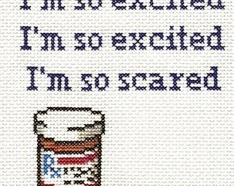 PATTERN - I'm So Scared Cross Stitch