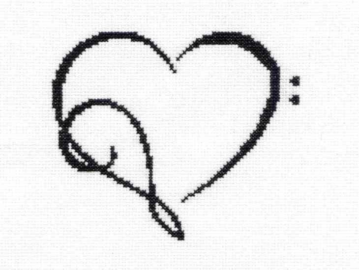 Tribal tattoo musical heart unframed cross stitch by for Treble and bass clef heart tattoo