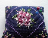 A lovely little rose pincushion  .. Cross stitched .. Mothers day gift